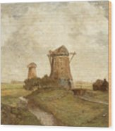 Two Windmills Between Abcoude And Ouderkerk On The Amstel Wood Print