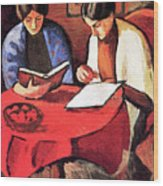 Two Women At The Table By August Macke Wood Print
