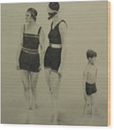 Two Women Bathers With Child Wood Print