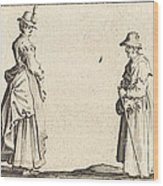 Two Women In Profile Wood Print