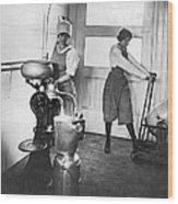 Two Women Making Butter Wood Print