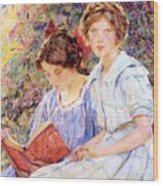 Two Women Reading Wood Print