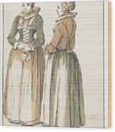 Two Women Standing Wood Print