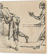 Two Workmen At Tables (recto) Wood Print