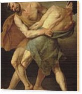 Two Wrestlers Wood Print by Cesare Francazano