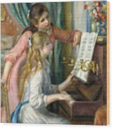 Two Young Girls At The Piano, 1892  Wood Print