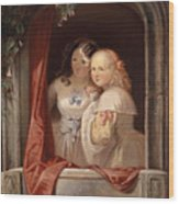Two Young Ladies At The Window Wood Print