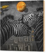 Two Zebras And Macaw Wood Print