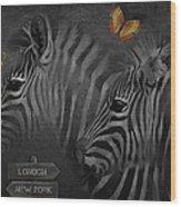 Two Zebras Wood Print