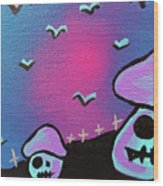 Two Zombie Mushrooms Wood Print by Jera Sky