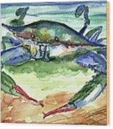 Tybee Blue Crab Wood Print
