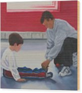 Tying Shoes Wood Print