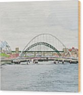 Tyne Bridges And Quayside Wood Print
