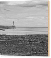 Tynemouth Pier Landscape In Monochrome Wood Print