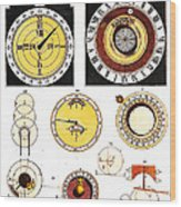 Types Of Clockfaces And Mechanism, 1809 Wood Print