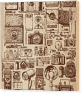 Types Of Photo Cameras Wood Print