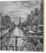 Typical Amsterdam - Monochrome Wood Print