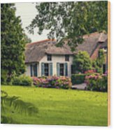 typical dutch county side of houses and gardens, Giethoorn Wood Print