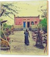 Typical House India Rajasthani Village 1j Wood Print