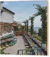 Typical Shop Display Of Ceramics For Sale In Positano, Amalfi Co Wood Print