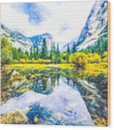 Typical View Of The Yosemite National Park Wood Print