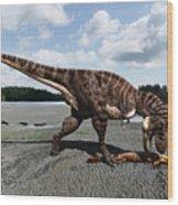 Tyrannosaurus enjoying seafood Wood Print