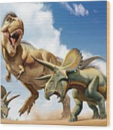 Tyrannosaurus Rex Fighting With Two Wood Print by Mohamad Haghani