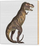 Tyrannosaurus Rex On White Wood Print