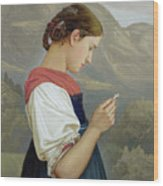 Tyrolean Girl Contemplating A Crucifix Wood Print