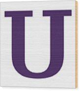 U In Purple Typewriter Style Wood Print