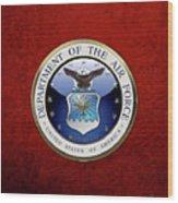 U. S.  Air Force  -  U S A F Emblem Over Red Velvet Wood Print