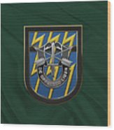 U. S.  Army 12th Special Forces Group - 12 S F G  Beret Flash Over Green Beret Felt Wood Print