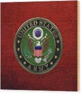 U. S.  Army Emblem Over Red Velvet Wood Print