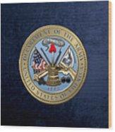 U. S. Army Seal Over Blue Velvet Wood Print