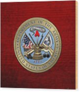 U. S. Army Seal Over Red Velvet Wood Print