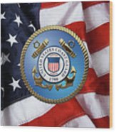 U. S. Coast Guard - U S C G Emblem Over American Flag Wood Print