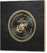 U S M C Emblem Black Edition Over Black Velvet Wood Print