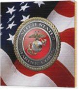 U S M C Emblem Over American Flag Wood Print