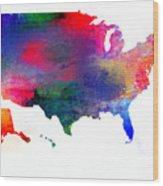 U S Map Color  Wood Print