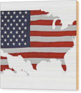 U S Map Stars N Stripes  Wood Print