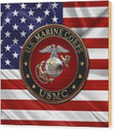 U. S.  Marine Corps - C O And Warrant Officer E G A Special Edition Over U. S.  Flag Wood Print