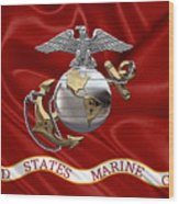 U. S.  Marine Corps - C O And Warrant Officer Eagle Globe And Anchor Over Corps Flag Wood Print