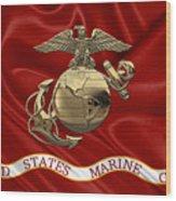 U. S.  Marine Corps - N C O Eagle Globe And Anchor Over Corps Flag Wood Print