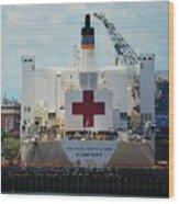 U S N Hospital Ship, Comfort In Boston's Dry Dock Wood Print