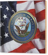 U. S.  Navy  -  U S N Emblem Over American Flag Wood Print