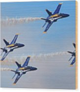 U S Navy Blue Angeles, Formation Flying, Smoke On Wood Print