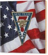 U. S. Navy S E A Ls - S E A L Team Seven  -  S T 7  Patch Over U. S. Flag Wood Print