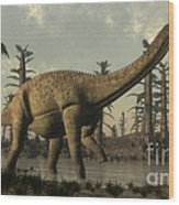 Uberabatitan Dinosaur Walking Wood Print