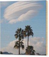 Ufo Cloud Over Palm Springs Wood Print
