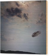 Ufo Over Lake Superior Wood Print